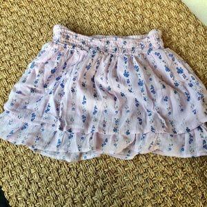 Baby pink blue flowers cotton summer skirt